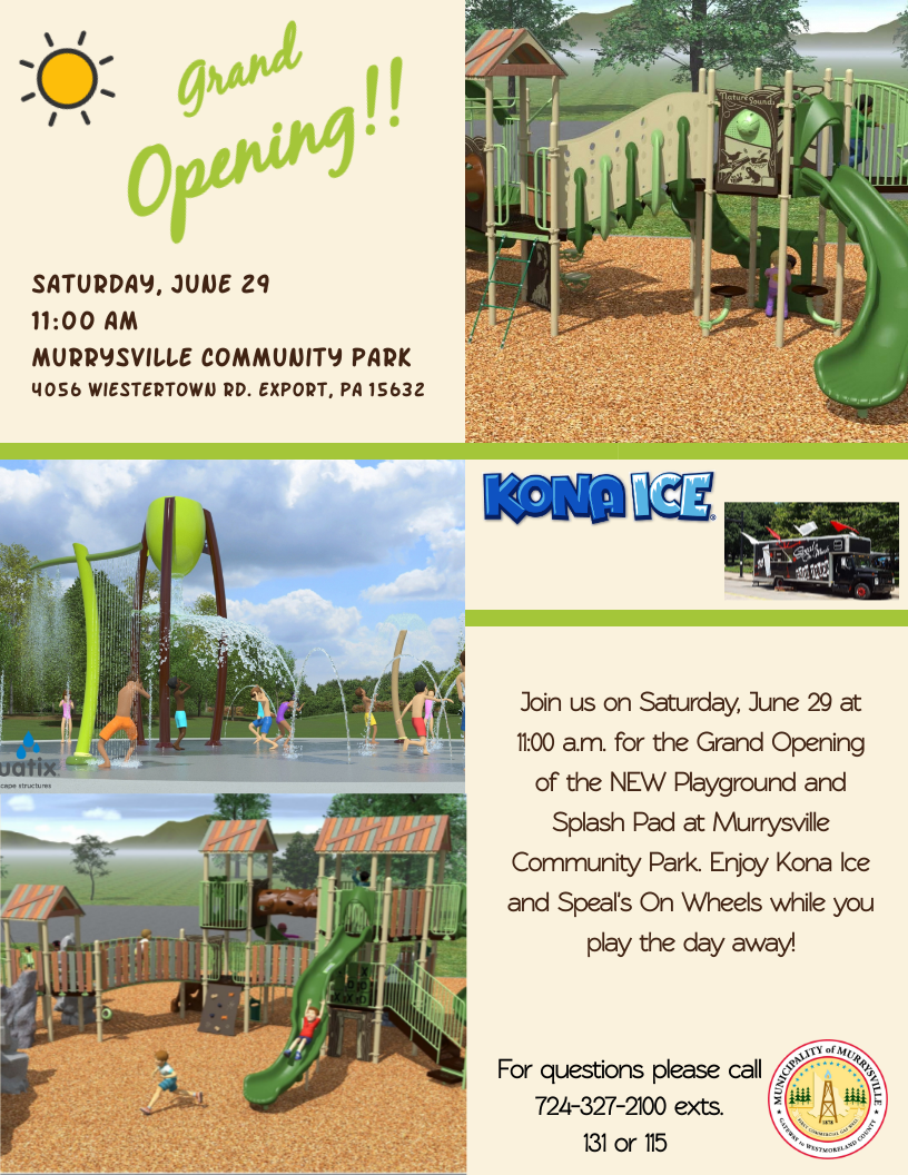 Grand Opening of Playground and Splash Pad Flyer