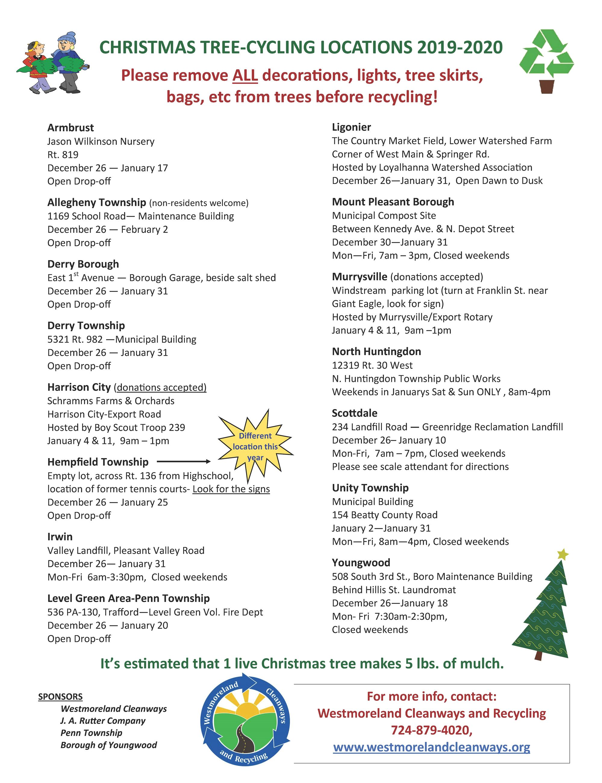 2019-2020 christmas tree recycling flier